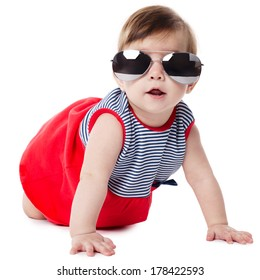 cute baby with sunglasses isolated on white background