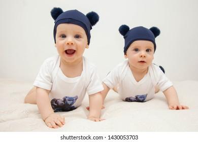 cute baby twins having fun