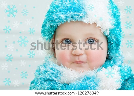 2ac4225f7316 Cute Baby Winter Background Stock Photo (Edit Now) 120276349 ...