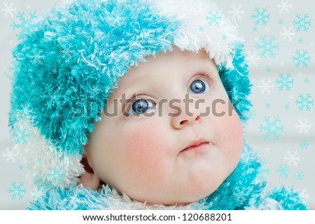 60e165eed623 Cute Baby Winter Background Stock Photo (Edit Now) 120688201 ...