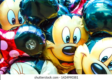 Cute balloons of Mikey mouse and Mini mouse. Paris, France.July 2018