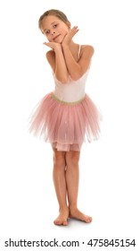 4c9c0c91a Beautiful Barefoot Girl Gymnast Pink Dress Stock Photo (Edit Now ...