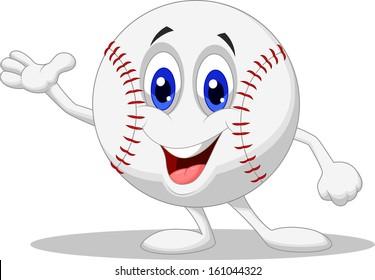 Cute baseball cartoon presenting