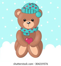 Cute bear in snow background.