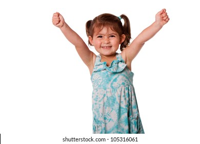 Cute beautiful funny happy little toddler girl celebrating with hand up in air, isolated.