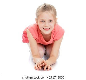 Cute beautiful girl schoolgirl is sitting on the floor - isolated on white background