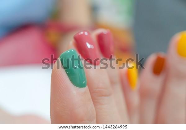Cute Beautiful Multicolor Gel Nail Art Stock Photo (Edit Now