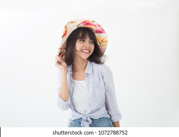 Cute and beautiful Thai girl smiling and joyful her lifestyle isolates on white background
