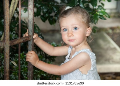 cute beauty child girl with beautiful blue eyes