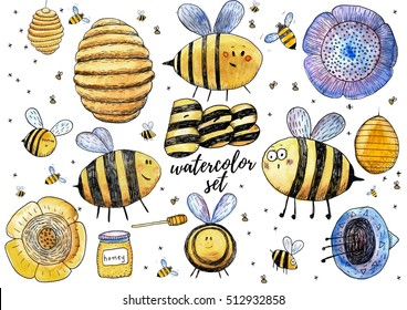 Cute bee and honey watercolor set. Hand painted illustration for children's books.