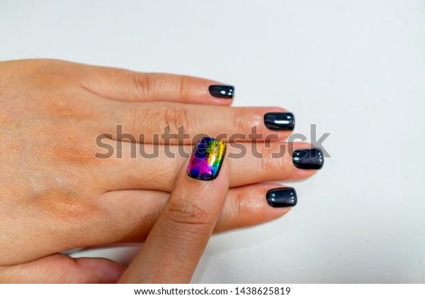 Cute Black Gel Nail Design On Stock Photo (Edit Now) 1438625819