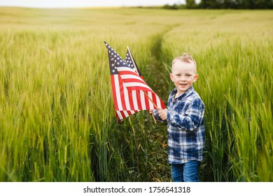 A cute blond boy is standing in a field with an American flag in his hands. Independence Day