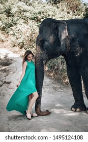 Cute blond girl in sunglasses and green dress strokes elephant's trunk with care; exotic animals, glamour.
