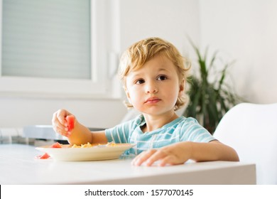 Cute blond toddler boy eating his meal