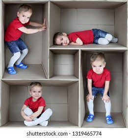Cute blond toddler boy in red t-shirt inside cardboard box, emotional child portrait, closeup indoor, place for your text, set of the images, collage