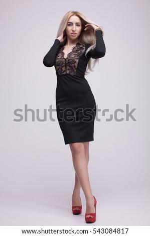 Cute Blonde Woman Gorgeous Black Dress Stock Photo Edit Now