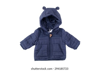 Cute blue children's winter jacket, isolated