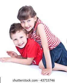 Cute blue eyed children posing , isolated on white background
