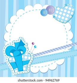 cute blue frame with gift box, buttons and patches