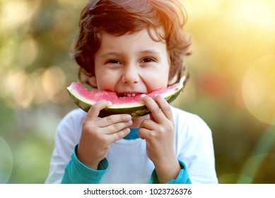 Cute boy child eating healthy organic watermelon in garden, nature background, sunny lights