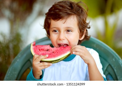 Cute boy child eating healthy organic watermelon in sunny garden, health concept