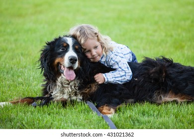 cute boy with curly blonde hair embraces a bernese mountain dog