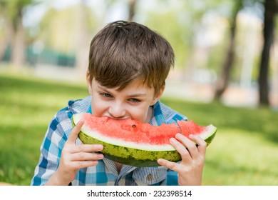Cute boy eating juicy watermelon in summer park