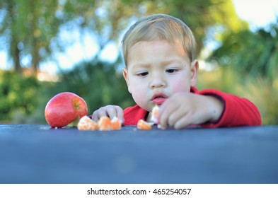 cute boy enjoy of eat the mandarin orange and apple in the park