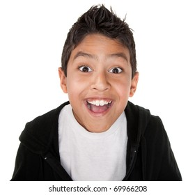Cute boy with a giant smile on a white background