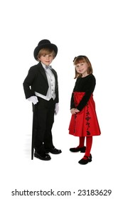 cute boy and girl in formal holiday clothing