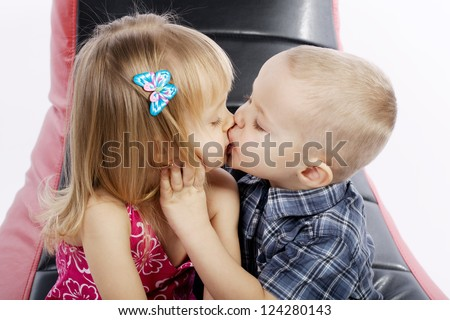 Cute boys start with kissing