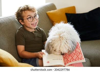 Cute boy with glasses, age 5, reads a story to his dog on the couch