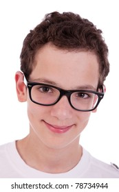 cute boy with glasses, smiling, isolated on white, studio shot