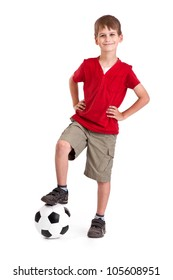 Cute boy is holding a football ball made of genuine leather  isolated on a white background. Soccer ball