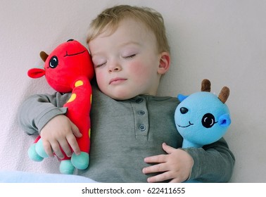 Cute boy likes sleeping with his stuffed animals. Toddler holds in arms his favourite stuffed toys. Child concept.