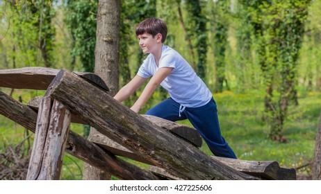 Cute boy in park