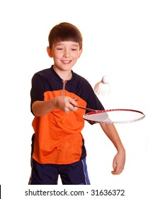 Cute boy playing badminton isolated on white
