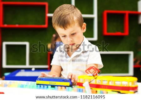 Cute Boy Playing Tram Developing Toys Stock Photo Edit Now