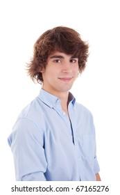 cute boy, smiling, isolated on white, studio shot