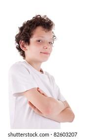 Cute boy, smiling, isolated on white background. Studio shot