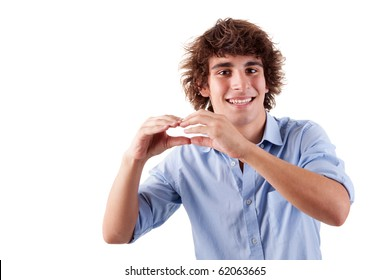 cute boy, smiling and putting hands like if was eating an hamburger, isolated on white, studio shot