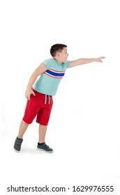 Cute boy trying to catch something, isolated on white background