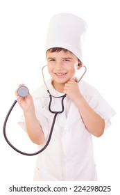 Cute boy, uniformed as doctor, isolated over white background