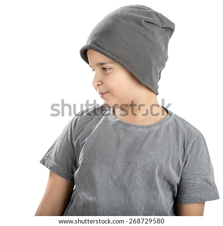 a6fda717d3c Cute boy wearing beanie looking at space for your text isolated on white  background.