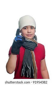 Cute boy with winter clothes isolated in studio