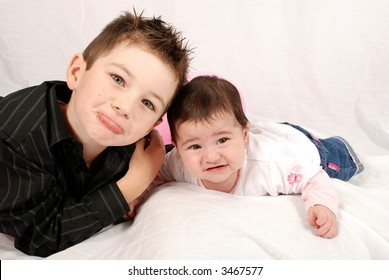 2b8f7f2d68e0e Cute Brother Sister Pulling Sad Faces Stock Photo (Edit Now) 3467577 ...