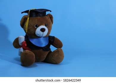 cute brown teddy bear that graduated and blue background - Shutterstock ID 1826422349