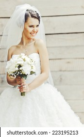 Cute brunette caucasian bride in white dress. Long veil.