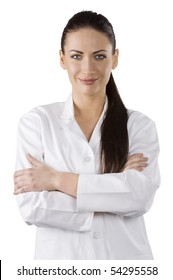 cute brunette woman in white gown as a medical doctor smiling in camera