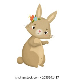 cute bunny on isolated background. rabbit with flowers